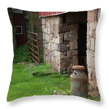 Milk Can At Stone Barn Throw Pillow
