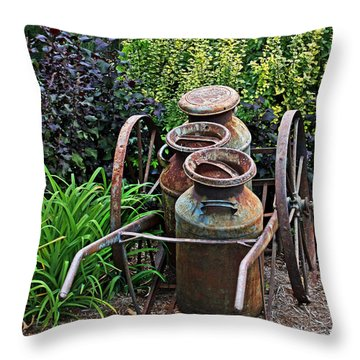 Throw Pillow featuring the photograph Milk Pails by Judy Vincent