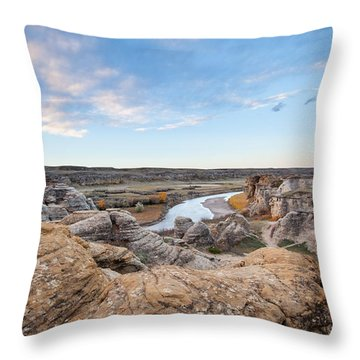 Throw Pillow featuring the photograph Milk River Sun Up by Fran Riley