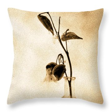Milk Weed In A Bottle Throw Pillow by Bob Orsillo