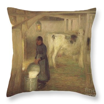 Milking Time  Early Morn Throw Pillow