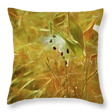 Throw Pillow featuring the mixed media Milkweed In Sunlight 2 by Lynda Lehmann