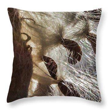 Milkweed Seed Burst Throw Pillow