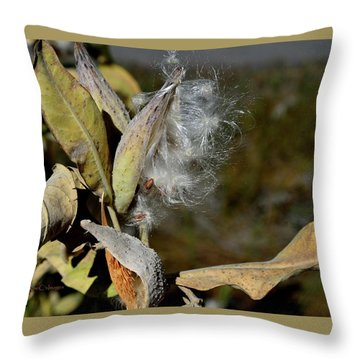 Milkweed Seeds Taking Flight Throw Pillow