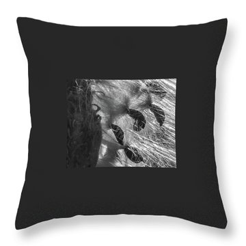 Milkweed Sunburst In Black And White Throw Pillow