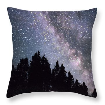 Milky Way Above The Bighorns Throw Pillow