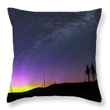 Throw Pillow featuring the photograph Milky Way And Aurora Borealis by Cat Connor