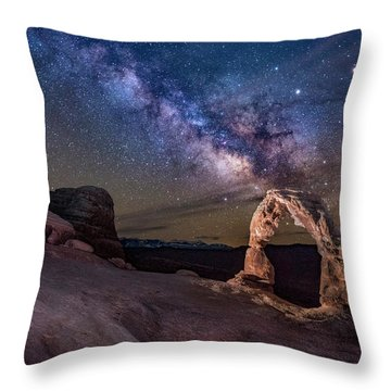 Milky Way And Delicate Arch Throw Pillow