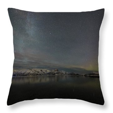 Milky Way And Northern Lights Throw Pillow