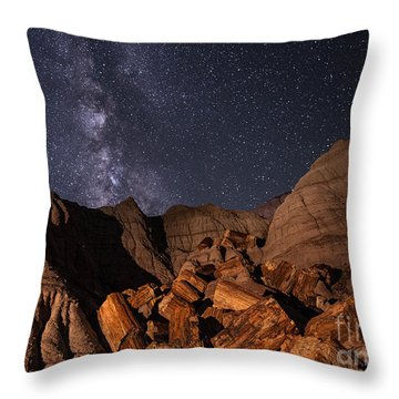 Throw Pillow featuring the photograph Milky Way And Petrified Logs by Melany Sarafis