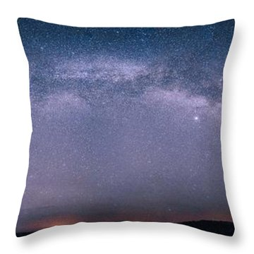 Milky Way Arch Over The Badlands Throw Pillow