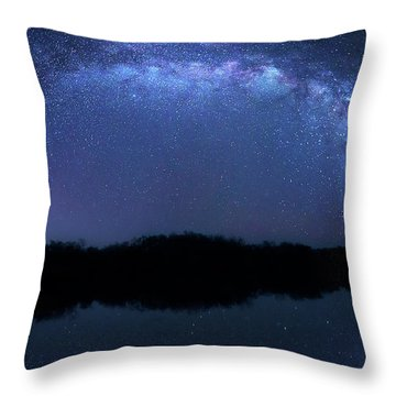 Throw Pillow featuring the photograph Milky Way At Mrazek Pond by Mark Andrew Thomas
