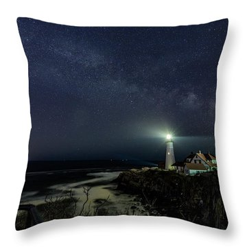 Milky Way At Portland Head Light Throw Pillow