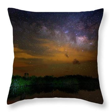 Milky Way Fire Throw Pillow by Mark Andrew Thomas