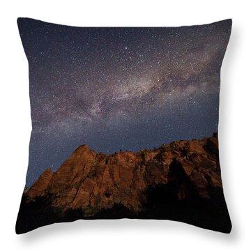 Milky Way Galaxy Over Zion Canyon Throw Pillow