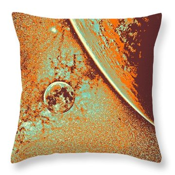 Milky Way Galaxy, The Blue Planet And Her Blood Moon 5 Throw Pillow