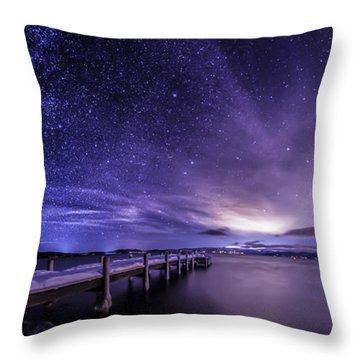 Milky Way Mountains Throw Pillow