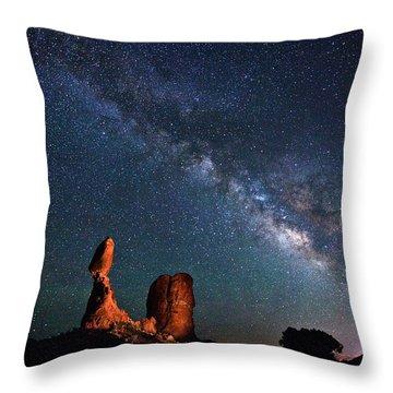 Milky Way Over Balanced Rock Throw Pillow