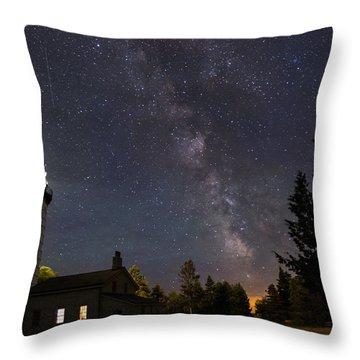 Milky Way Over Cana Island Lighthouse Throw Pillow