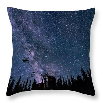 Milky Way Over Chairlift Throw Pillow