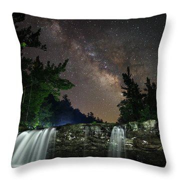 Milky Way Over Falling Waters Throw Pillow