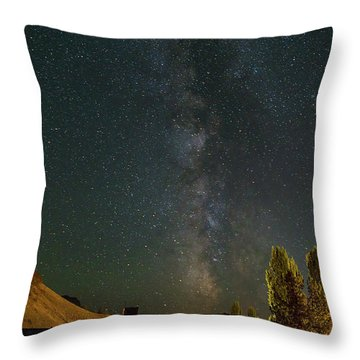 Milky Way Over Farmland In Central Oregon Throw Pillow