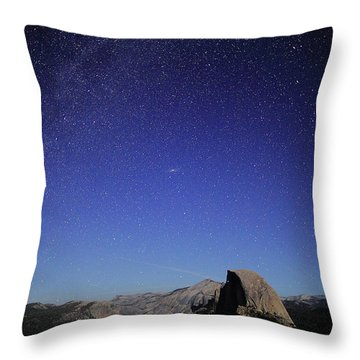 Milky Way Over Half Dome Throw Pillow