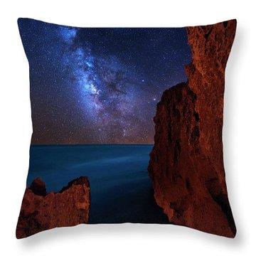 Milky Way Over Huchinson Island Beach Florida Throw Pillow