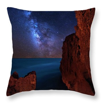 Throw Pillow featuring the photograph Milky Way Over Huchinson Island Beach Florida by Justin Kelefas