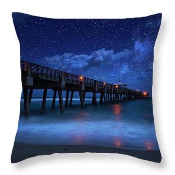 Milky Way Over Juno Beach Pier Under Moonlight Throw Pillow