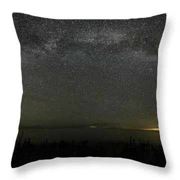 Milky Way Over Lake Michigan At Cana Island Lighthouse Throw Pillow