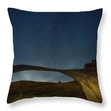 Milky Way Over Landscape Arch Throw Pillow