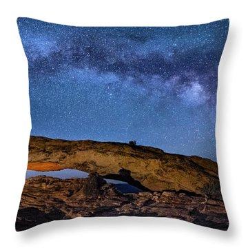 Milky Way Over Mesa Arch Throw Pillow
