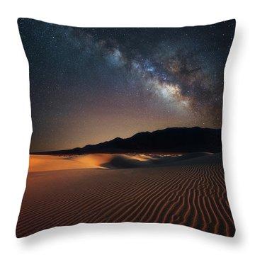 Milky Way Over Mesquite Dunes Throw Pillow by Darren White