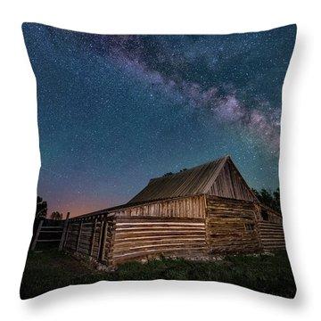 Milky Way Over Moulton Barn Throw Pillow