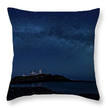 Milky Way Over Nubble Throw Pillow