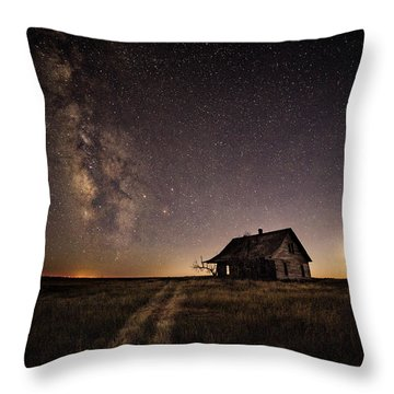 Milky Way Over Prairie House Throw Pillow