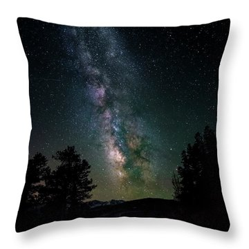 Milky Way Over Rocky Mountains Throw Pillow