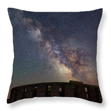 Throw Pillow featuring the photograph Milky Way Over Stonehendge by Cat Connor