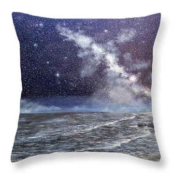 Throw Pillow featuring the painting Milky Way Over The Jersey Shore by Ken Ahlering