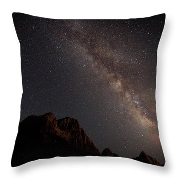 Milky Way Over Zion Throw Pillow