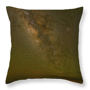 Milky Way Rising Above Blue And Paradise Mountain - Davis Mountains West Texas Throw Pillow