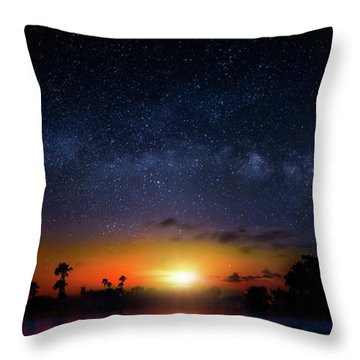 Milky Way Sunrise Throw Pillow by Mark Andrew Thomas