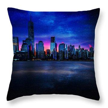 Milkyway Over Manhattan Throw Pillow