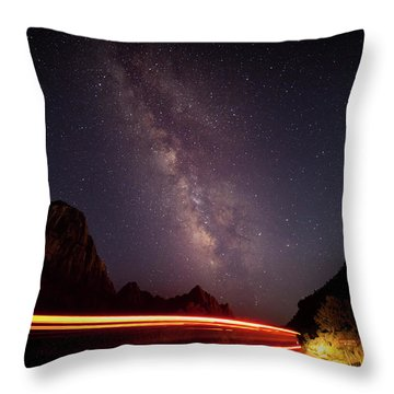 Milkyway Over The Higway Throw Pillow