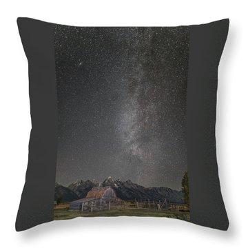 Milkyway Over The John Moulton Barn Throw Pillow by Roman Kurywczak