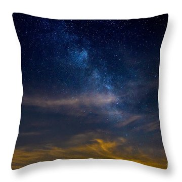 Milkyway With Sky Glow Throw Pillow