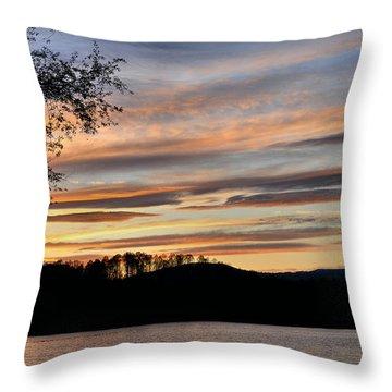 Mill Creek Lake Sun Set Throw Pillow by Todd Hostetter
