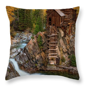 Mill In The Mountains Throw Pillow