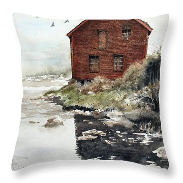 Mill Pond Throw Pillow by Monte Toon